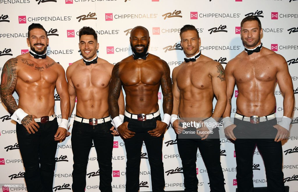Actor/model Tyson Beckford (C) poses for photos with the cast of Chippendales, as he begins a celebrity guest host in residency with the Chippendales at the Rio Hotel & Casino on April 7, 2017 in Las Vegas, Nevada.