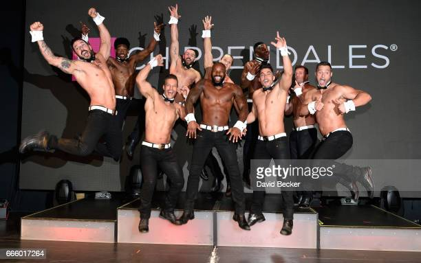 Actor/model Tyson Beckford poses with the cast of Chippendales at the Rio Hotel Casino as he begins a celebrity guest host in residency on April 7...