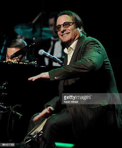 Actor/musician Andy Garcia performs onstage at Help Haiti with George Lopez Friends at LA Live's Nokia Theater on February 4 2010 in Los Angeles...