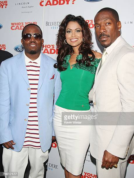 """Actor/musician Antwan 'Big Boi' Patton , producer Tracey Edmonds and actor Eddie Murphy pose at the premiere of The Weinstein Co.'s """"Who's Your..."""