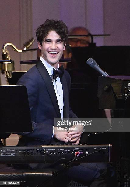 Actor/musician Darren Criss performs at The New York Pops Darren Criss and Betsy Wolfe In Concert at Carnegie Hall on March 11 2016 in New York City