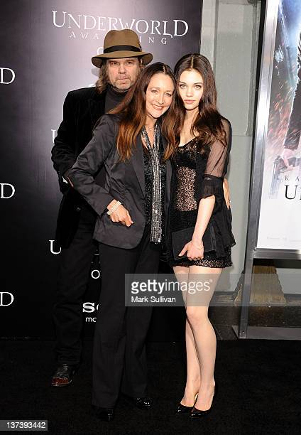 Actor/musician David Glen Eisley actress Olivia Hussey and actress India Eisley attend the Los Angeles premiere of 'Underworld Awakening' at...