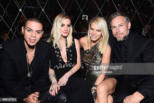 Actor/Musician Evan Ross singer Ashlee Simpson Jessica Simpson and Eric Johnson attend the after party the Premiere Of Lionsgate's The Hunger Games...