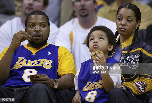 Actormusician Ice Cube and family attend Game 4 of the Western Conference semifinals between the San Antonio Spurs and the Los Angeles Lakers on May...
