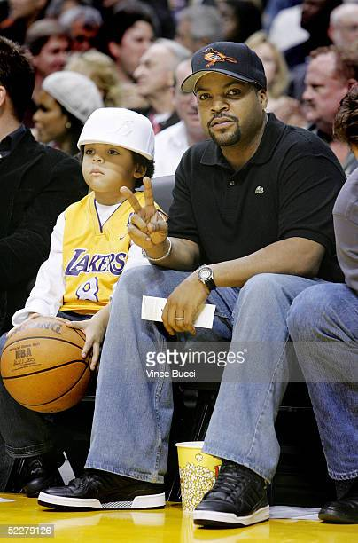 Actor/musician Ice Cube and son O'Shea Jackson Jr. Attend the game between the Los Angeles Lakers and the Dallas Mavericks at the Staples Center on...