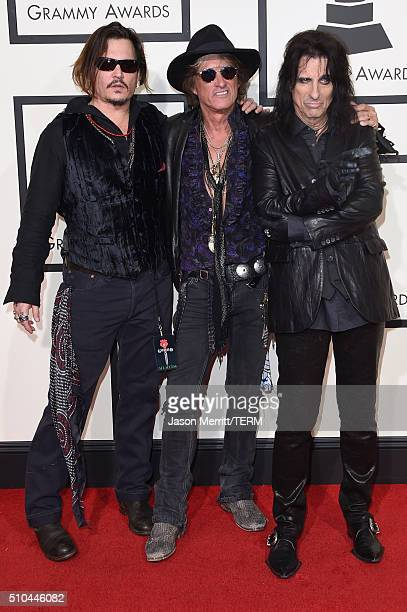 Actormusician Johnny Depp musician Joe Perry and singer Alice Cooper of the Hollywood Vampires attend The 58th GRAMMY Awards at Staples Center on...
