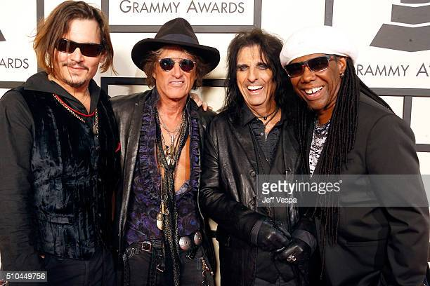 Actor/musician Johnny Depp musicians Joe Perry Alice Cooper of Hollywood Vampires and musician Nile Rodgers attend The 58th GRAMMY Awards at Staples...