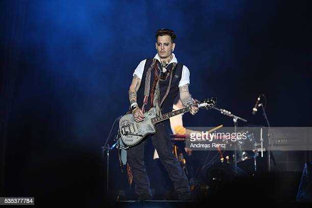Actor/Musician Johnny Depp of Hollywood Vampires performs onstage at HessentagsArena during the 56th Hessentag on May 29 2016 in Herborn Germany