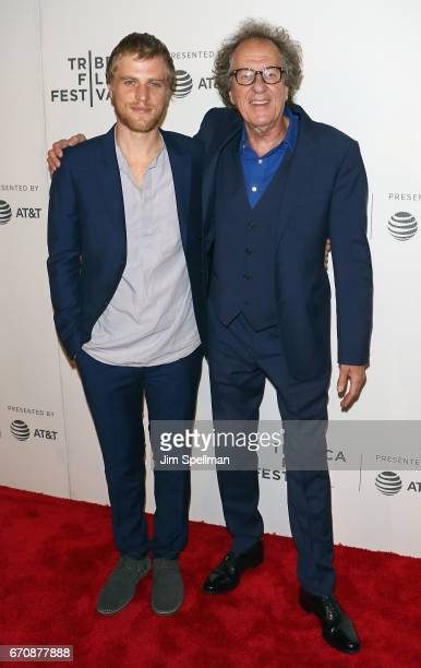 Actor/musician Johnny Flynn and actor Geoffrey Rush attend the 2017 Tribeca Film Festival 'Genius' screening at BMCC Tribeca PAC on April 20 2017 in...