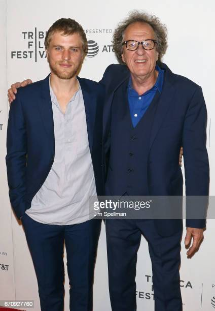 Actor/musician Johnny Flynn and actor Geoffrey Rush attend the 2017 Tribeca Film Festival Genius screening at BMCC Tribeca PAC on April 20 2017 in...
