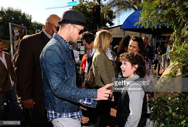 Actor/musician Justin Timberlake and actor Nolan Gould attend the premiere of Warner Bros 'Yogi Bear 3D' at the Mann Village Theatre on December 11...