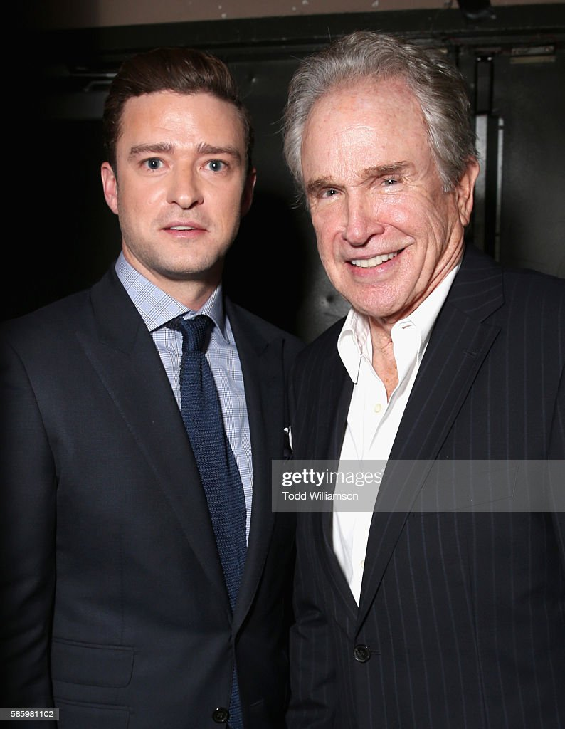 Actor/musician Justin Timberlake (L) and actor Warren Beatty attend the Hollywood Foreign Press Association's Grants Banquet at the Beverly Wilshire Four Seasons Hotel on August 4, 2016 in Beverly Hills, California.