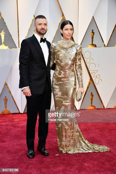 Actor/musician Justin Timberlake and actress Jessica Biel attend the 89th Annual Academy Awards at Hollywood Highland Center on February 26 2017 in...