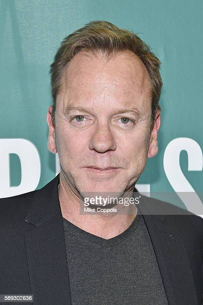 Actor/musician Kiefer Sutherland poses for a picture before signing copies of his new book 'Down In A Hole' at Barnes Noble Union Square on August 13...