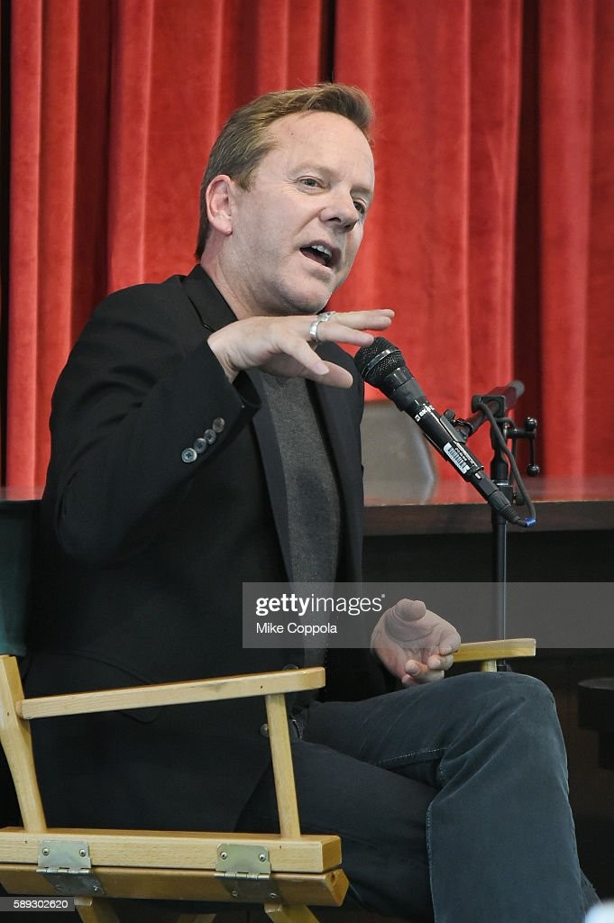 Actor/musician Kiefer Sutherland speaks to an audience before signing copies of his new book 'Down In A Hole' at Barnes & Noble Union Square on August 13, 2016 in New York City.
