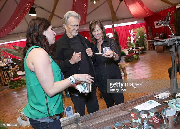 Actor/musician Kris Kristofferson and Lisa Meyers attend the GRAMMY Gift Lounge during the 56th Grammy Awards at Staples Center on January 24 2014 in...