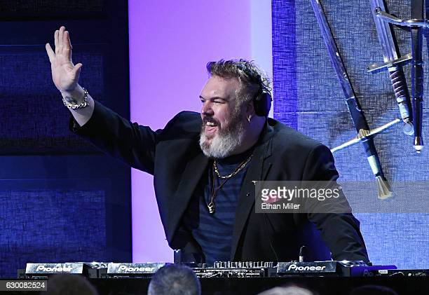 Actor/musician Kristian Nairn DJs' during the 22nd Annual Critics' Choice Awards at Barker Hangar on December 11 2016 in Santa Monica California