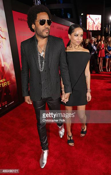 Actor/musician Lenny Kravitz and daughter Zoe Kravitz attend premiere of Lionsgate's The Hunger Games Catching Fire Red Carpet at Nokia Theatre LA...