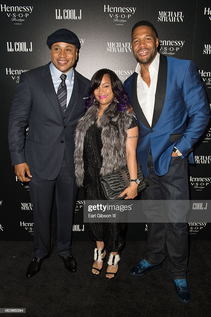 Actor/Musician LL Cool Day, Simone Smith and Michael Strahan attend the Hennessy Toast Achievements on February 7, 2015 in Los Angeles, California.