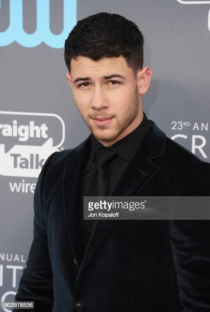 Actormusician Nick Jonas attends The 23rd Annual Critics' Choice Awards at Barker Hangar on January 11 2018 in Santa Monica California