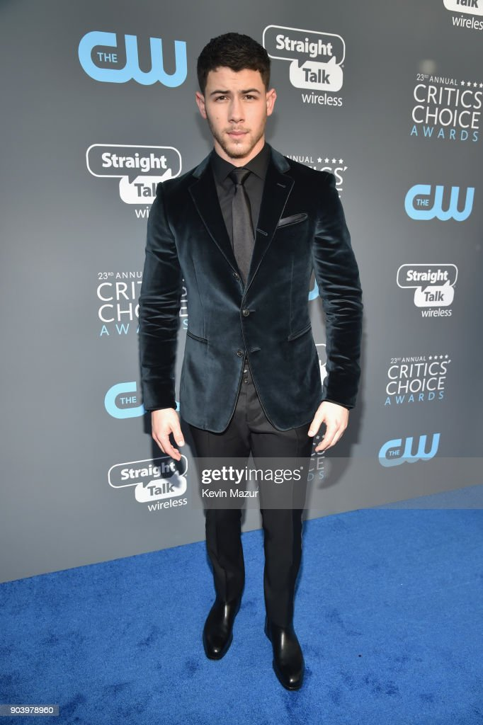 Actor-musician Nick Jonas attends The 23rd Annual Critics' Choice Awards at Barker Hangar on January 11, 2018 in Santa Monica, California.