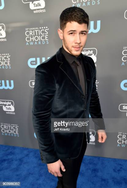 Actor/musician Nick Jonas attends The 23rd Annual Critics' Choice Awards at Barker Hangar on January 11 2018 in Santa Monica California