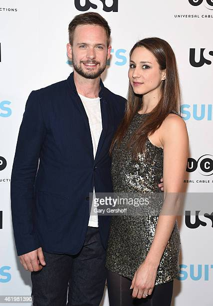 Actor/photographer Patrick J Adams and actress Troian Bellisario attend the Patrick J Adams Exhibition Opening of SUITS Gallery at 402 West 13th...