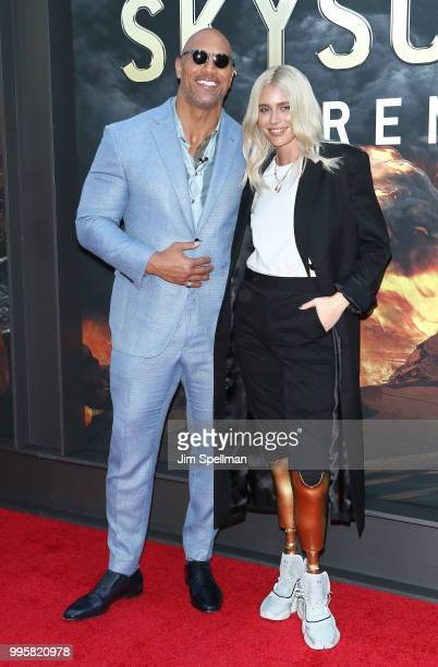 Actor/produceer Dwayne Johnson and Lauren Wasser attend the Skyscraper New York premiere at AMC Loews Lincoln Square on July 10 2018 in New York City