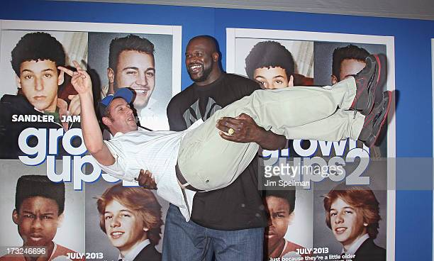 Actor/producer Adam Sandler and basketball player Shaquille O'Neal attend the 'Grown Ups 2' New York Premiere at AMC Lincoln Square Theater on July...