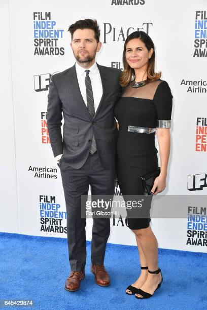 Actor/producer Adam Scott and producer Naomi Scott attend the 2017 Film Independent Spirit Awards on February 25 2017 in Santa Monica California