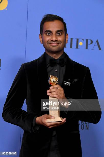 Actor/producer Aziz Ansari, winner of the award for Best Performance by an Actor in a Television Series for 'Master of None,' poses in the press room...