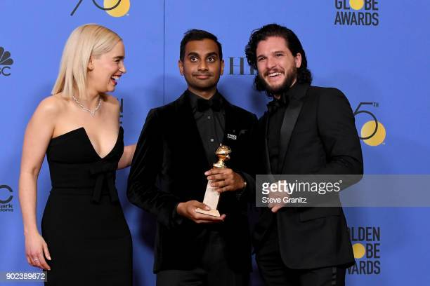 Actor/producer Aziz Ansari winner of the award for Best Performance by an Actor in a Television Series for 'Master of None' poses with actors Emilia...