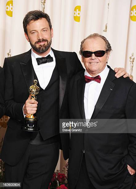 Actor/producer Ben Affleck and presenter Jack Nicholson pose in the press room during the Oscars at the Loews Hollywood Hotel on February 24, 2013 in...