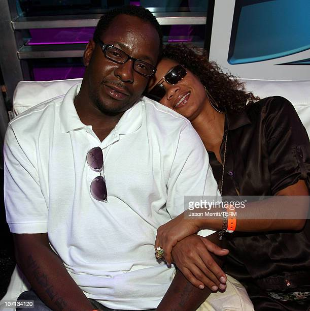 Actor/producer Bobby Brown and guest attend DIRECTV's Championship Gaming Series kick off party for the world final series at Barker Hanger on July...