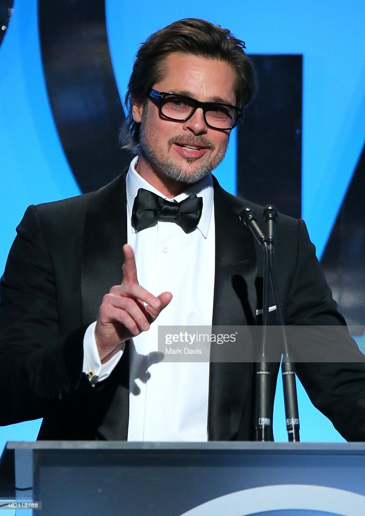 Actor/producer Brad Pitt accepts the PGA Visionary Award onstage during the 26th Annual Producers Guild Of America Awards at the Hyatt Regency Century Plaza on January 24, 2015 in Los Angeles, California.