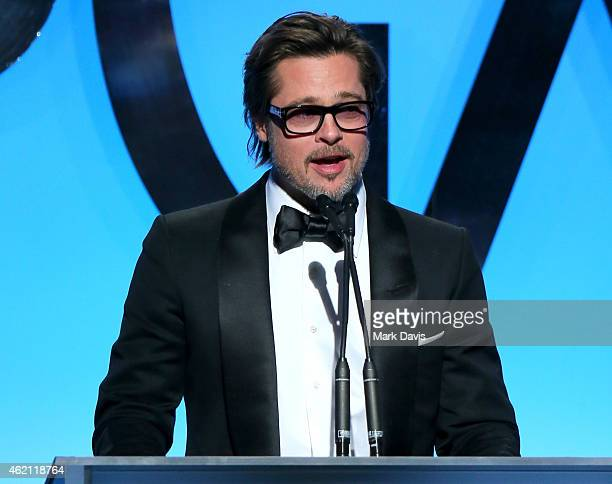 Actor/producer Brad Pitt accepts the PGA Visionary Award onstage during the 26th Annual Producers Guild Of America Awards at the Hyatt Regency...