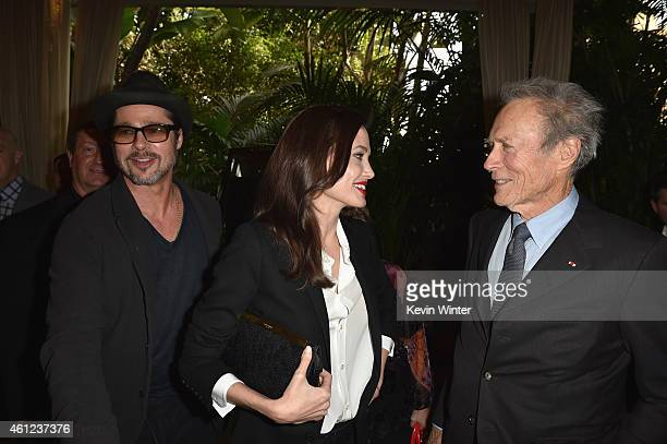 Actor/producer Brad Pitt, actress/director Angelina Jolie and actor/director Clint Eastwood attend the 15th Annual AFI Awards at Four Seasons Hotel...