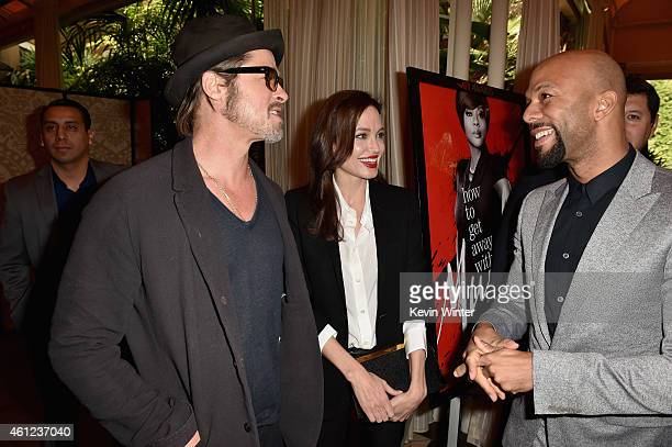 Actor/producer Brad Pitt, actress/director Angelina Jolie and rapper/actor Common attend the 15th Annual AFI Awards at Four Seasons Hotel Los Angeles...