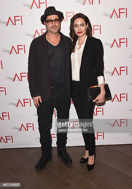 Actor/producer Brad Pitt actress/director Angelina Jolie attend the 15th Annual AFI Awards at Four Seasons Hotel Los Angeles at Beverly Hills on...