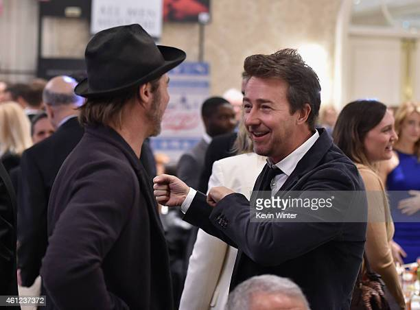 Actor/producer Brad Pitt and actor Edward Norton attend the 15th Annual AFI Awards at Four Seasons Hotel Los Angeles at Beverly Hills on January 9...