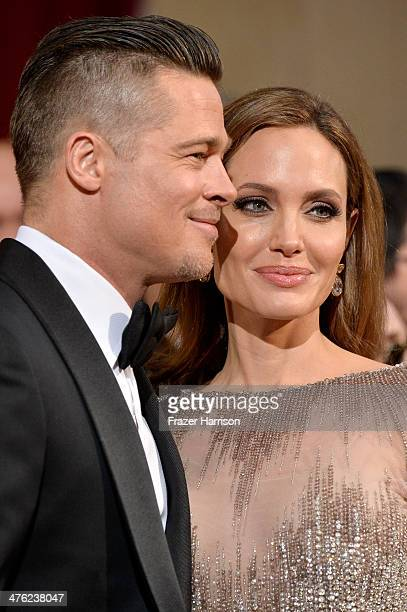 Actor/producer Brad Pitt and actress Angelina Jolie attend the Oscars held at Hollywood & Highland Center on March 2, 2014 in Hollywood, California.