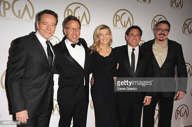 Actor/producer Bryan Cranston and producers Mark Johnson Michelle MacLaren Stewart Lyons and Vince Gilligan attend the 25th annual Producers Guild of...