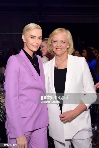 Actorproducer Charlize Theron and CEO at Quibi Meg Whitman attend The Hollywood Reporter's Power 100 Women in Entertainment at Milk Studios on...