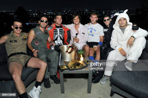 Actor/producer David Bernon and Diego Boneta attend Diego Boneta's David Bernon's Halloween at the Hedges by Chivas Regal on October 30 2017 in West...