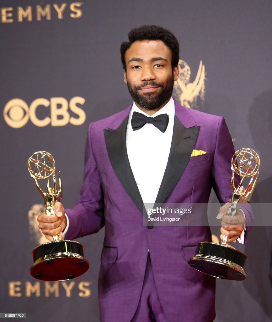 Actor/producer Donald Glover, winner of the awards for Outstanding Lead Actor in a Comedy Series and Outstanding Directing for a Comedy Series for 'Atlanta,' poses in the press room during the 69th Annual Primetime Emmy Awards at Microsoft Theater on September 17, 2017 in Los Angeles, California.