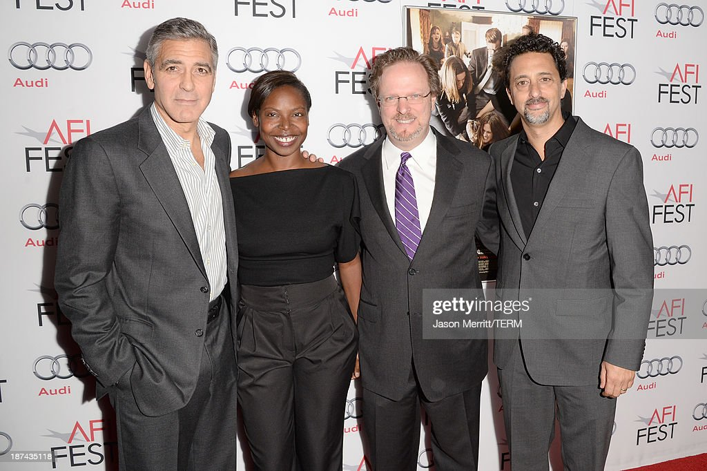 Actor/Producer George Clooney, Director AFI Fest, Jacqueline Lyanga, President & CEO American Film Institute Bob Gazzale, producer Grant Heslov attend the premiere of The Weinstein Company's 'August: Osage County' during AFI FEST 2013 presented by Audi at TCL Chinese Theatre on November 8, 2013 in Hollywood, California.