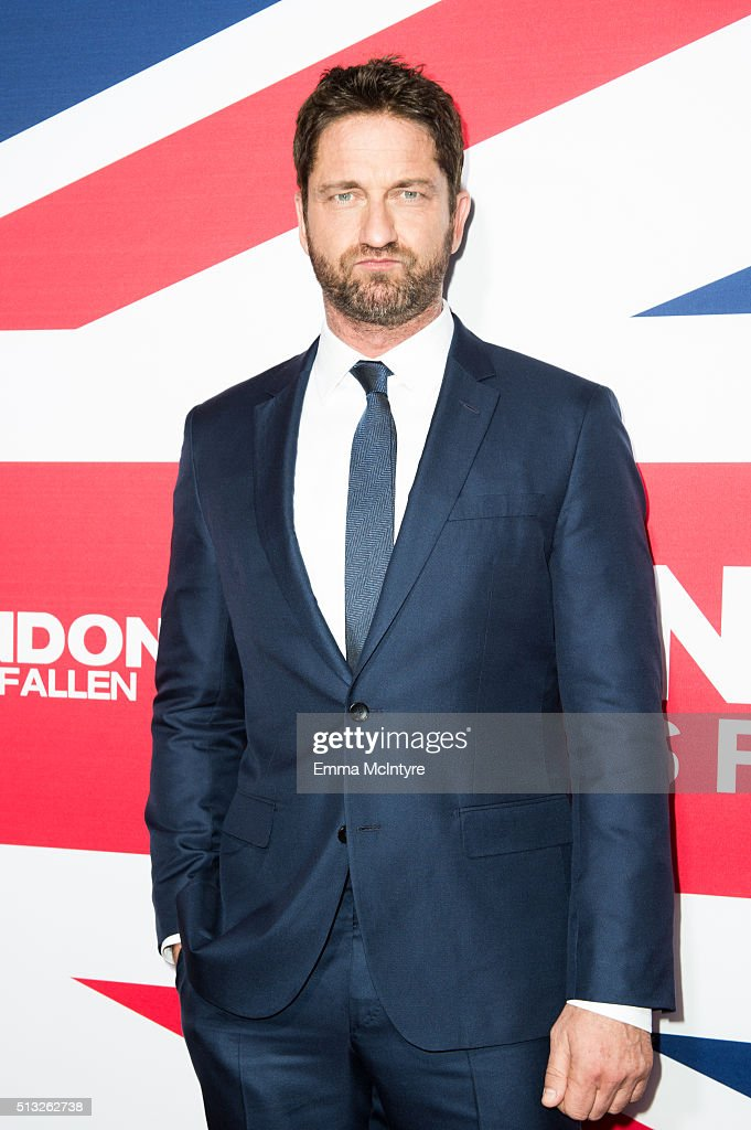 Actor/producer Gerard Butler attends the premiere of Focus Features' 'London Has Fallen' at ArcLight Cinemas Cinerama Dome on March 1, 2016 in Hollywood, California.