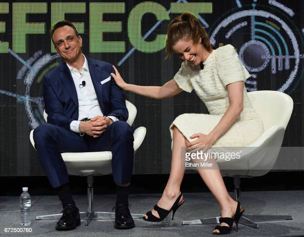 Actor/producer Hank Azaria and actress Amanda Peet joke around as they speak during IFC's 'Brockmire' panel during the 2017 NAB Show at the Las Vegas...
