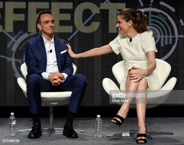 Actor/producer Hank Azaria and actress Amanda Peet speak during IFC's 'Brockmire' panel during the 2017 NAB Show at the Las Vegas Convention Center...