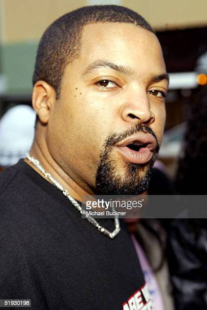 Actor/Producer Ice Cube poses on the red carpet during the premiere of Columbia Pictures' Are We There Yet at the Mann Village on January 9 2005 in...